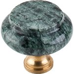 """Top Knobs M121 Green Marble 1 3/8"""" With Brass Base  from the Chateau Collection"""