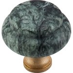 """Top Knobs M127 Tumbled Green Marble 1 3/8"""" With Brass Base  from the Chateau Collection"""