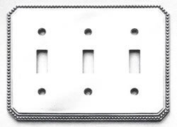 Omnia 8004/T Triple Toggle Switch Plate with Beaded Edge