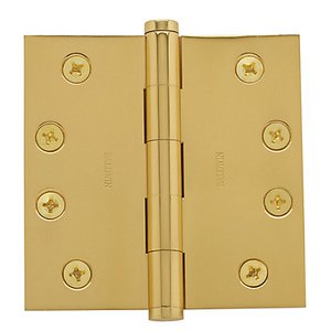 Baldwin 1040.I Estate 4 Inch x 4 Inch Solid Brass Full Mortise Hinge with Square Corners (Sold Each)