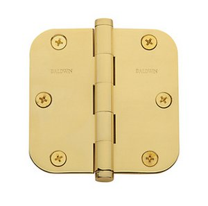 Baldwin 1135.I Estate 3.5 Inch x 3.5 Inch Solid Brass Full Mortise Hinge with 5/8 Inch Radius Corners (Sold Each)