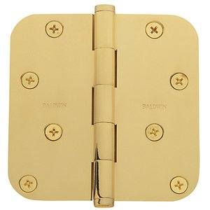 Baldwin 1140.I Estate 4 Inch x 4 Inch Solid Brass Full Mortise Hinge with 5/8 Inch Radius Corners (Sold Each)