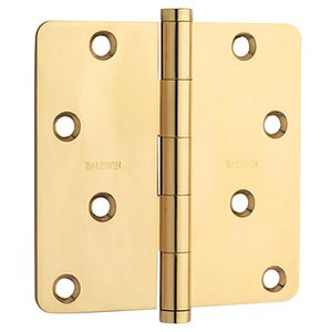 Baldwin 1440.I Estate 4 Inch x 4 Inch Solid Brass Full Mortise Hinge with 1/4 Inch Radius Corners (Sold Each)