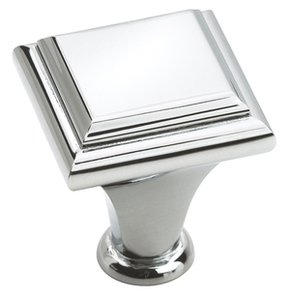 """Amerock BP2613126 Polished Chrome 1"""" Square Knob from the Manor Collection"""