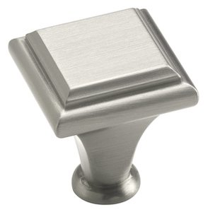 """Amerock BP26131G10 Satin Nickel 1"""" Square Knob from the Manor Collection"""