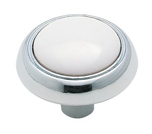 """Amerock 262WCH White / Polished Chrome 1 1/4"""" Knob from the Allison Collection"""