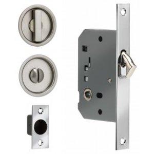 Omnia 3910S Solid Brass Sliding Door Lock - Round
