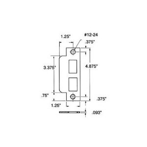 Baldwin 6043 Mortise Strike Latch, Deadbolt, and Aux Latch Function for 2.75 Inch Backsets