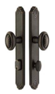 Emtek 6442 10 Inch Stretto Lost Wax Cast Bronze Narrow Trim Single Cylinder Set
