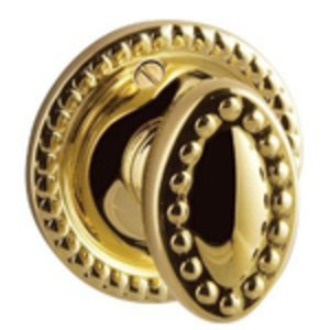 Baldwin 6764.EXT Turnpiece with Round Beaded Backplate for Doors Thicker than 2-1/4 Inches