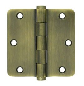 Deltana DSB35R4-R Residential 3-1/2 Inch x 3-1/2 Inch Solid Brass Full Mortise Hinge with 1/4 Inch Radius Corners (Sold in Pairs)