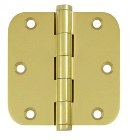 Deltana DSB35R5 Standard 3-1/2 Inch x 3-1/2 Inch Solid Brass Full Mortise Hinge with 5/8 Inch Radius Corners (Sold in Pairs)
