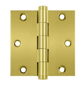 Deltana DSB3 Standard 3 Inch x 3 Inch Solid Brass Full Mortise Hinge with Square Corners (Sold in Pairs)