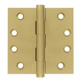Deltana DSB4 Standard 4 Inch x 4 Inch Solid Brass Full Mortise Hinge with Square Corners (Sold in Pairs)