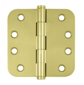 Deltana DSB4R5-R Residential 4 Inch x 4 Inch Solid Brass Full Mortise Hinge with 5/8 Inch Radius Corners (Sold in Pairs)