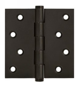 Deltana DSB4-RZ Residential 4 Inch x 4 Inch Solid Brass Full Mortise Hinge with Square Corners (Sold in Pairs)