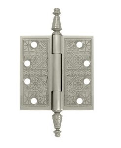 Deltana DSBP44U Ornate 4 Inch x 4 Inch Solid Brass Hinge with Square Corners (Sold in Pairs)