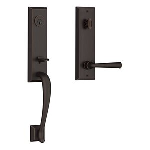 Baldwin EEDELXFEDSBE Reserve Del Mar Single Cylinder Handleset with Federal Lever and Square Bevel Escutcheon