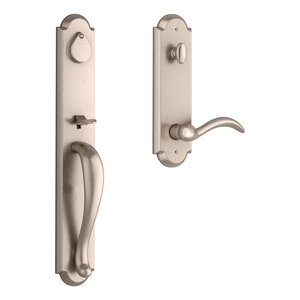 Baldwin EEELKXARCRRAE Reserve Elkhorn Single Cylinder Handleset with Arch Lever and Rustic Arched Escutcheon For Right Handed Doors