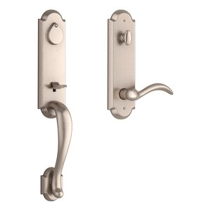 Baldwin EEKODXARCRRAE Reserve Kodiak Single Cylinder Handleset with Arch Lever and Rustic Arched Escutcheon For Right Handed Doors