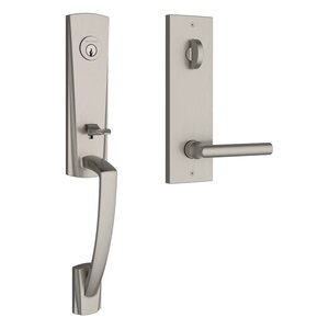 Baldwin EEMIAXTUBCQE Reserve Miami Single Cylinder Handleset with Tube Lever and Contemporary Square Escutcheon