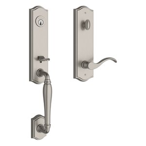Baldwin EENEWXCURRTAE Reserve New Hampshire Single Cylinder Handleset with Curve Lever and Traditional Arched Escutcheon For Right Handed Doors