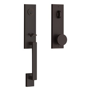 Baldwin EESEAXCONCQE Reserve Seattle Single Cylinder Handleset with Contemporary Knob and Contemporary Square Escutcheon