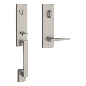 Baldwin EESEAXSQUCQE Reserve Seattle Single Cylinder Handleset with Square Lever and Contemporary Square Escutcheon
