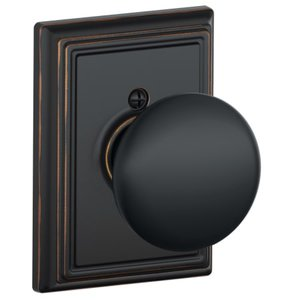 Schlage F170PLY/ADD Plymouth Single Dummy Knob with Addison Decorative Rosette