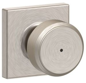 Schlage F40BWE/COL Bowery Privacy Knobset with Collins Decorative Rosette