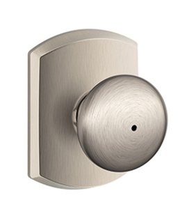 Schlage F40PLY/GRW Plymouth Privacy Knobset with Greenwich Decorative Rosette