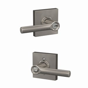 Schlage F51BRW/COL Broadway Keyed Entry Leverset with Collins Decorative Rosette