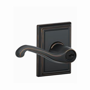 Schlage F51FLA/ADD Flair Keyed Entry Leverset with Addison Decorative Rosette