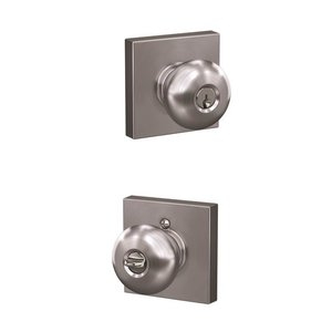 Schlage Custom F51PLY/COL Plymouth Keyed Entry Knobset with Collins Decorative Rosette
