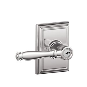 Schlage F51BIR/ADD Birmingham Keyed Entry Leverset with Addison Decorative Rosette