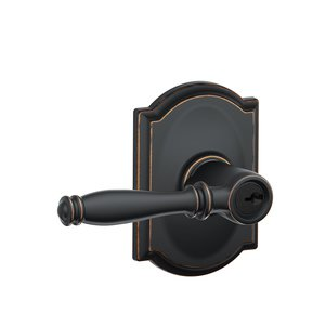 Schlage F51BIR/CAM Birmingham Keyed Entry Leverset with Camelot Decorative Rosette