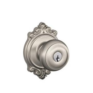 Schlage F51GEO/BRK Georgian Keyed Entry Knobset with Brookshire Decorative Rosette