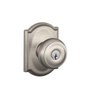 Schlage F51GEO/CAM Georgian Keyed Entry Knobset with Camelot Decorative Rosette