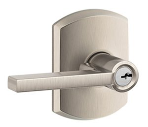 Schlage F51LAT/GRW Latitude Keyed Entry Leverset with Greenwich Decorative Rosette