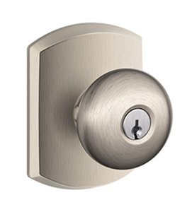 Schlage F51PLY/GRW Plymouth Keyed Entry Knobset with Greenwich Decorative Rosette