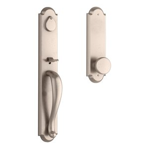 Baldwin FDELKXRUSRAE Reserve Elkhorn Full Dummy Handleset with Rustic Knob and Rustic Arched Escutcheon