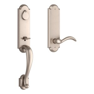 Baldwin FDKODXARCRRAE Reserve Kodiak Full Dummy Handleset with Arch Lever and Rustic Arched Escutcheon For Right Handed Doors