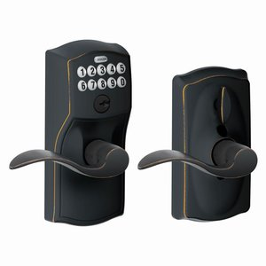 Schlage FE595 CAM/ACC Camelot Keypad Flex-Lock Entry Leverset with Accent Lever