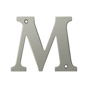 """Deltana RL4M Solid Brass 4 Inch House Letter """"M"""""""