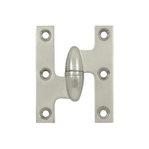 Deltana OK2520-L 2-1/2 Inch x 2 Inch Solid Brass Olive Knuckle Hinge - Left Handed