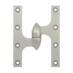 Deltana OK6045B-L 6 Inch x 4-1/2 Inch Solid Brass Olive Knuckle Hinge - Left Handed