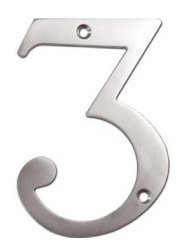 """Deltana RN4-3U Solid Brass 4 Inch House Number """"3"""""""
