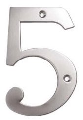 """Deltana RN6-5U Solid Brass 6 Inch House Number """"5"""""""