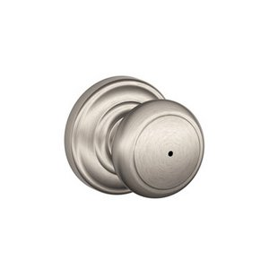 Schlage F40AND/AND Andover Privacy Knobset with Andover Decorative Rosette