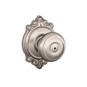 Schlage F40GEO/BRK Georgian Privacy Knobset with Brookshire Decorative Rosette